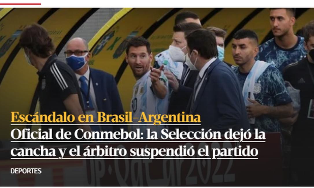 Portal do argentino Clarín: 'Escândalo em Brasil x Argentina' Foto: Reprodução