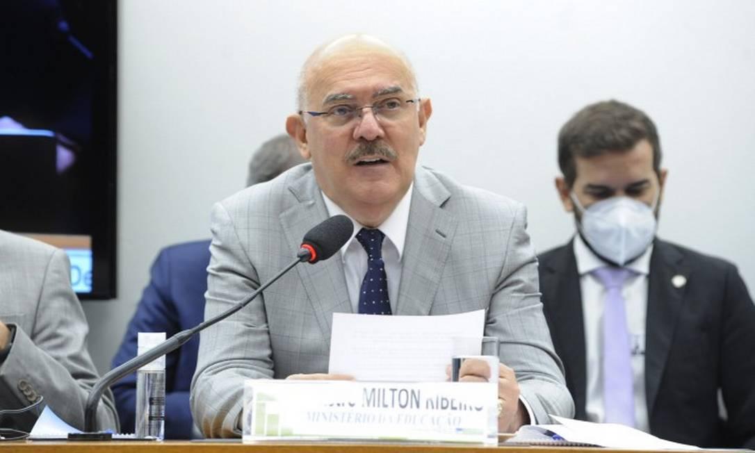 Milton Ribeiro em audiência na Câmara em agosto; em reunião fechada, deputados criticaram declaração sobre alunos com deficiência Foto: Cleia Viana / Câmara dos Deputados
