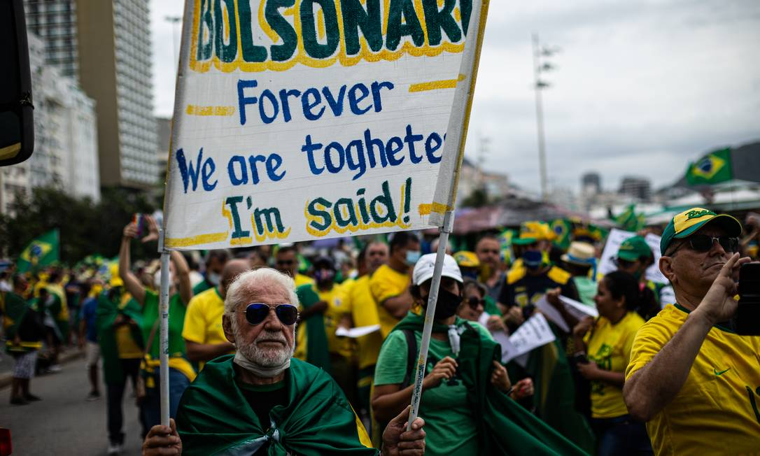"""""""Bolsonaro para sempre. Nós estamos juntos. Eu disse"""" Foto: Hermes de Paula / Agência O Globo"""