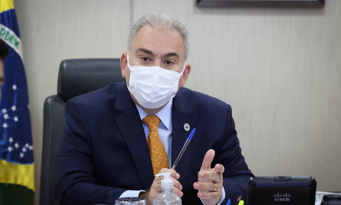 O Ministro da Saúde, Marcelo Queiroga, durante reunião no ministério Foto: Walterson Rosa / MS