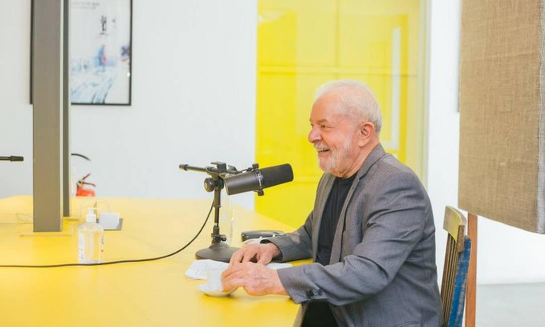 O ex-presidente Luiz Inácio Lula da Silva na gravação do podcast 'Mano a Mano' Foto: Reprodução