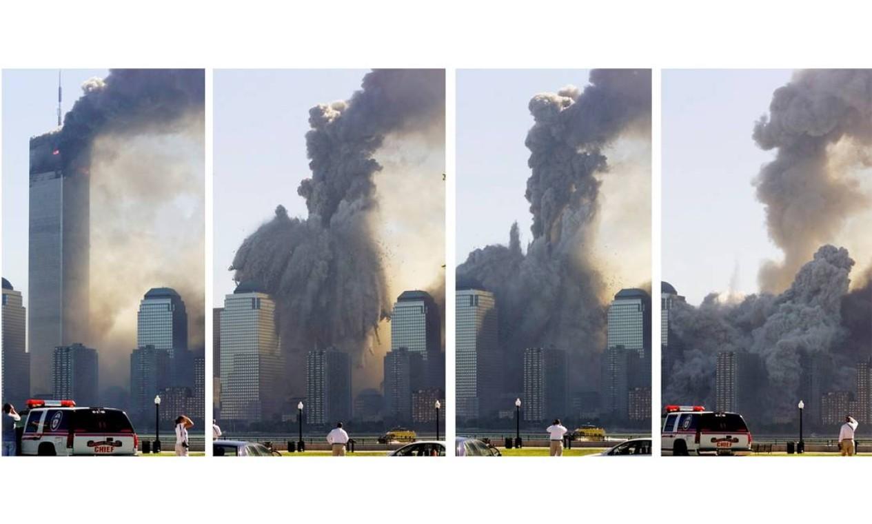 Sequência de fotos feitas do outro lado do Rio Hudson, em Jersey City, Nova Jersey, mostra a primeira torre do World Trade Center desabando Foto: Ray Stubblebine / Reuters / Reuters