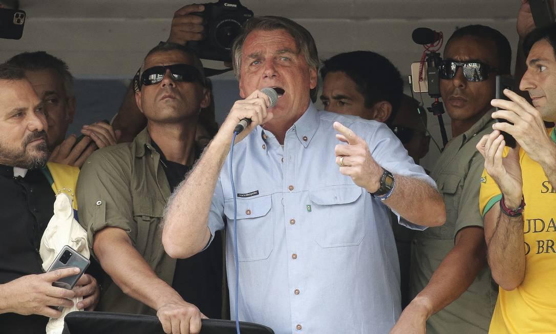 Presidente Jair Bolsonaro durante manifestação em São Paulo de 7 de setembro Foto: PAULO LOPES / AFP