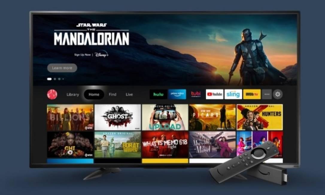 Amazon lança modelos de smart TV de marca própria, com preços variando de US$ 370 a US$ 1.100. Na foto, o dispositivo Fire TV Foto: Divulgação