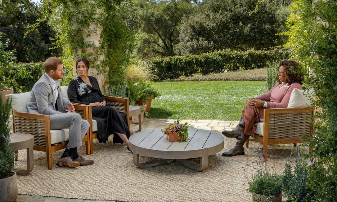 Harry e Meghan em entrevista à Oprah Foto: Reuters via Page Six