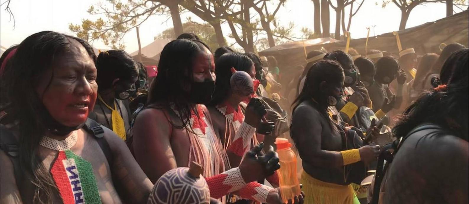 Mulheres indígenas marcham em Brasília pelo direito à terra Foto: Divulgação/Assessoria de Comunicação do CIMI