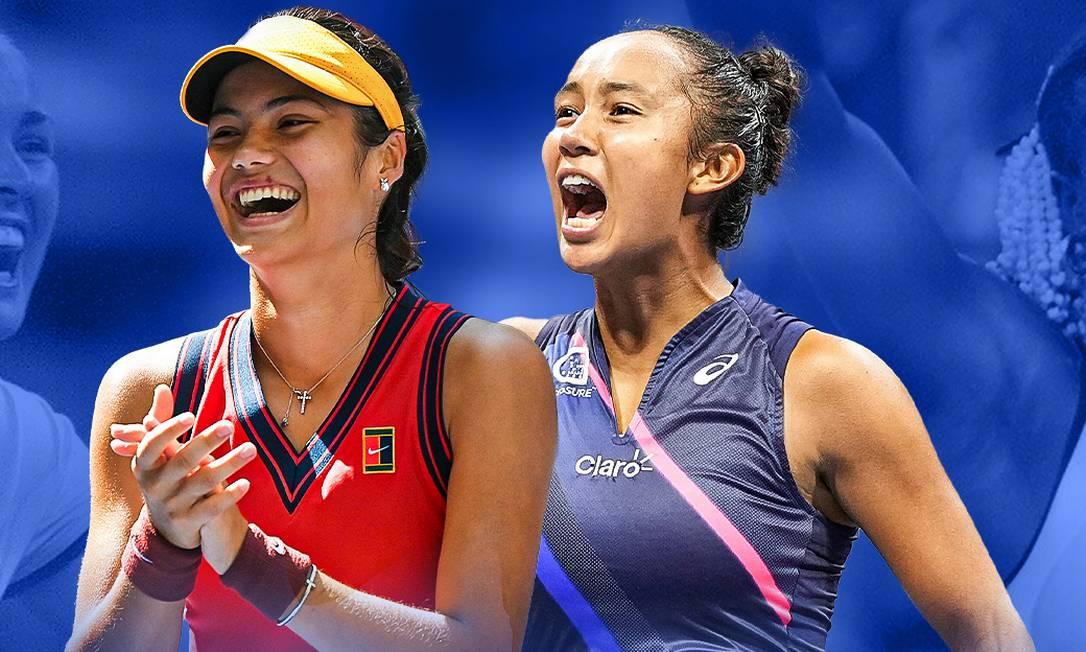 Raducanu (esquerda) e Fernandez fazem a final feminina do US Open Foto: Reprodução