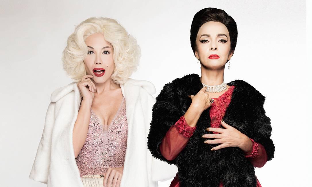 Juliana Knust (à esquerda) e Claudia Ohana interpretam, respectivamente, Marilyn Monroe e Maria Callas na peça 'Parabéns, sr. presidente' Foto: Divulgação/Pino Gomes