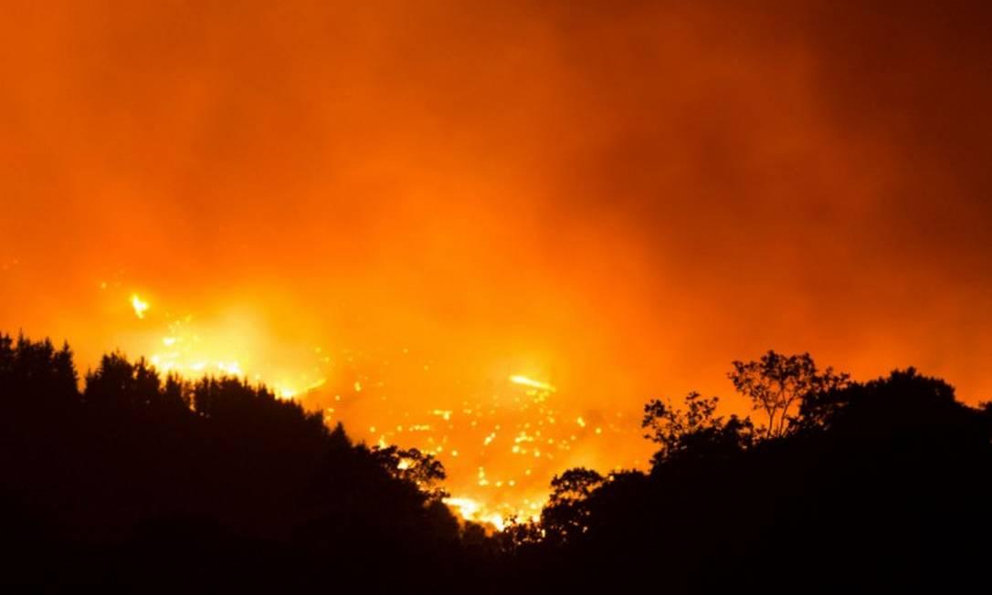Incêndio já destruiu mais de 7 mil hectares de floresta e causou a morte de um bombeiro na Espanha Foto: JORGE GUERRERO / AFP