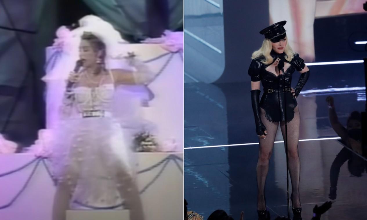"""Desde 1984, quatro anos depois de seu nascimento, a MTV passou a premiar grandes estrelas da música por seus seus feitos no Video Music Awards, o VMAs. Na edição de 2021, que aconteceu no último domingo, Madonna, que esteve na primeira edição do prêmio, deu as caras novamente para celebrar os 40 anos da emissora de videoclipe. À esquerda, Madonna em 1984, no palco apresentando """"Like a virgin"""", e à direita, celebrando a data. A seguir, relembramos a primeira e a mais recente aparição de artistas num dos eventos mais badalados da música Foto: Reprodução MTV / Reuters"""