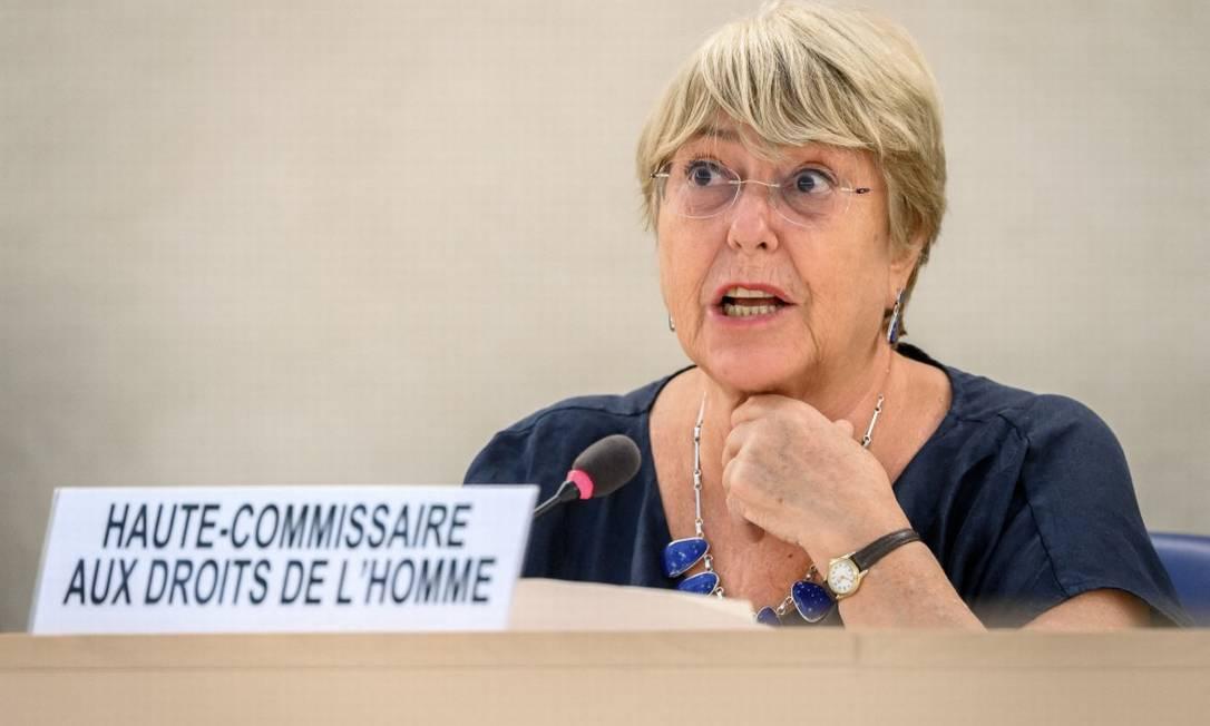 Alta comissária da ONU para os direitos humanos, Michelle Bachelet, durante discurso de abertura do Conselho de Direitos Humanos da ONU Foto: FABRICE COFFRINI / AFP