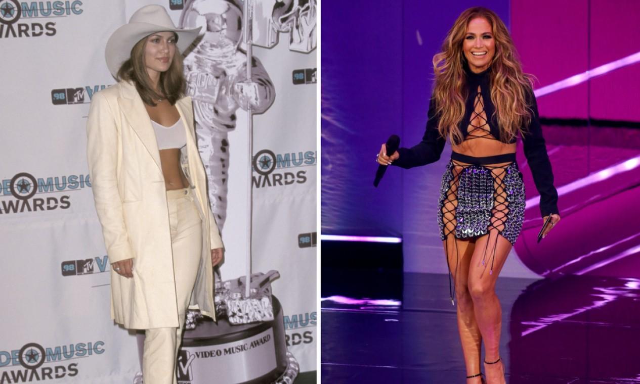 """A primeira ida de Jennifer Lopez no VMA foi em 1998, mas só em 2000 que ela faturou um prêmio - o de melhor vídeo dançante, por """"Waiting for tonight"""". Na noite de domingo, ela voltou ao programa para apresentar a categoria """"Música do ano"""". Quem venceu foi Olivia Rodrigo, com """"Drivers License"""" Foto: AFP"""