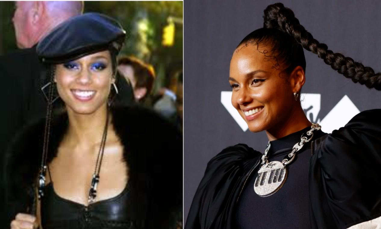 """Alicia Keys, que levou seu primeiro astronauta em 2001 como """"Melhor nova artista em videoclipe"""", voltou ao VMA 20 anos depois para apresentar """"Empire State of Mind"""" Foto: AFP e Reuters"""