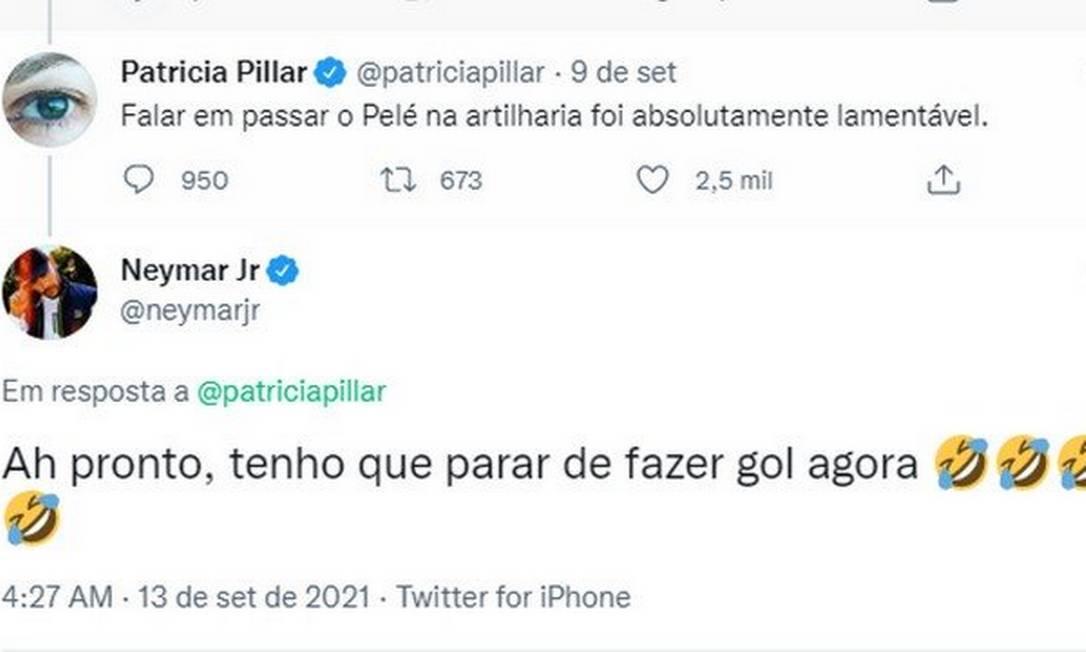 Neymar rebateu críticas de Patrícia Pillar após declaração sobre passar Pelé na artilharia Foto: Reprodução