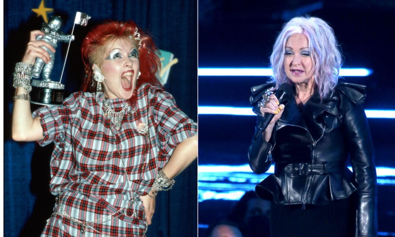 """Em 2021, Cindy Lauper apresentou a categoria de melhor vídeo pop (""""Peaches"""", de Justin Bieber), a mesma que ela venceu na primeira edição do VMA, com """"Girls just wanna have fun"""" Foto: AFP"""