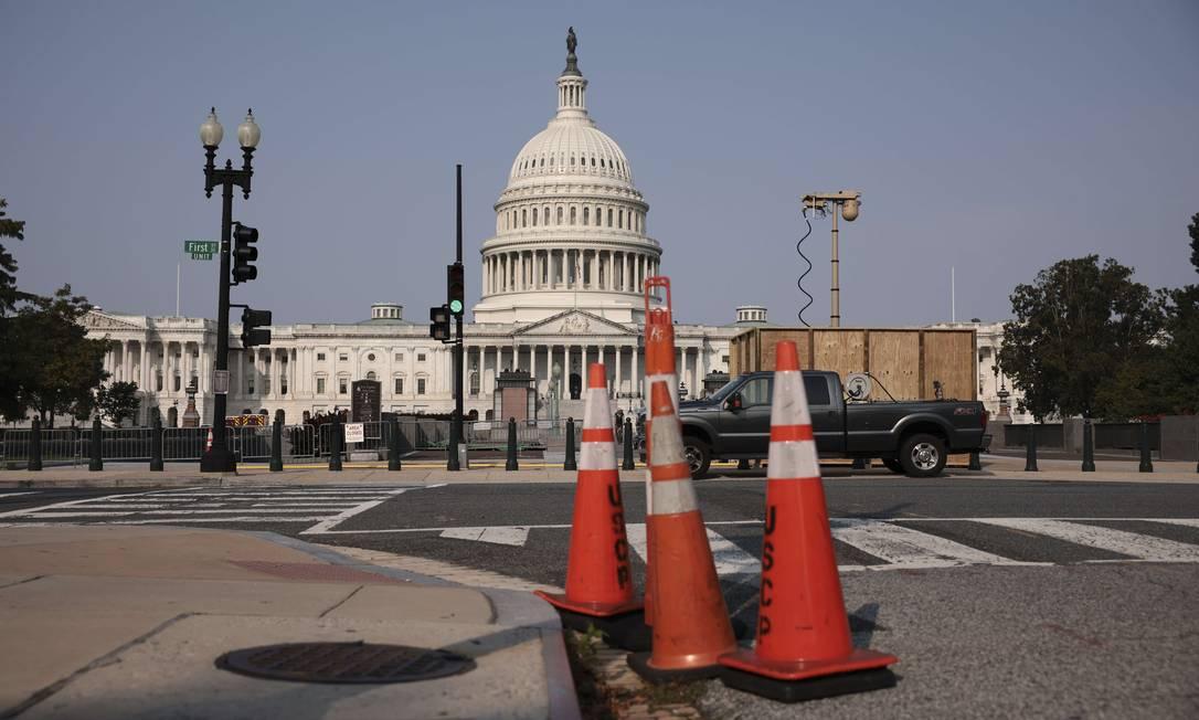 Câmera de vigilância foi recentemente instalada é perto do edifício do Capitólio Foto: Anna Moneymaker / AFP