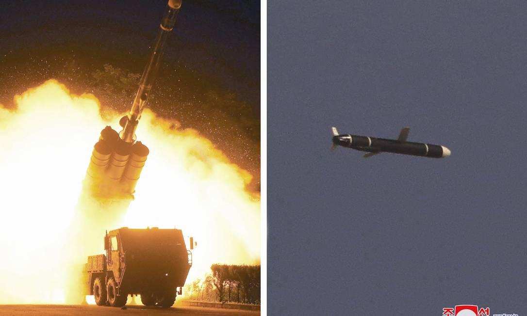 Imagens divulgadas pela agência estatal KCNA mostram o que seria o teste de um novo míssil de cruzeiro da Coreia do Norte Foto: STR / AFP