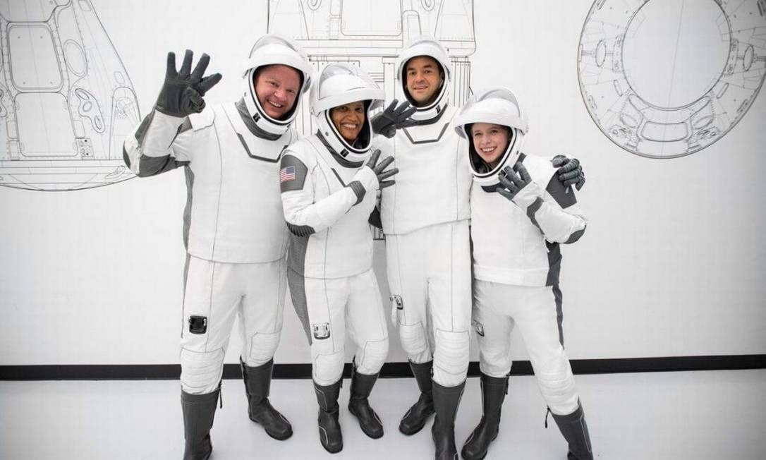 Passageiros da Crew Dragon, nave da Space X Foto: Reprodução/Space X