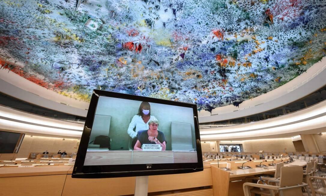 Alta comissária da ONU para os Direitos Humanos, Michelle Bachelet, durante discurso de abertura da sessão do Conselho de Direitos Humanos Foto: FABRICE COFFRINI / AFP/13-9-21