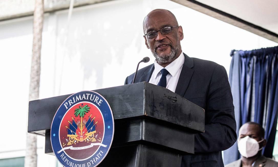 O premier interino do Haiti, Ariel Henry, durante cerimônia oficial em julho Foto: VALERIE BAERISWYL / AFP