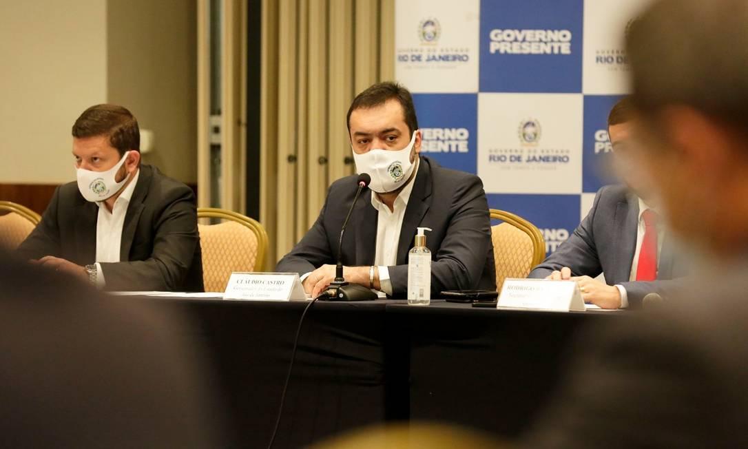O governador Cláudio Castro, durante o lançamento do Portal Transparência do Pacto RJ Foto: Divulgação