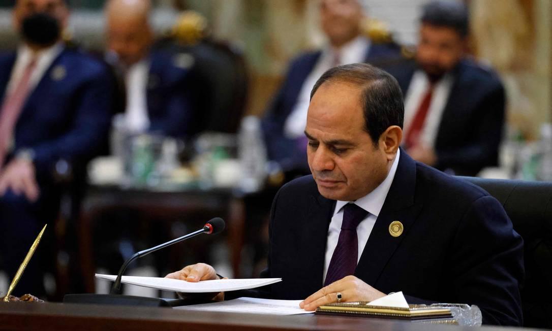 Presidente do Egito, Abdel Fattah al-Sisi, durante reunião em Bagdá, no dia 28 de agosto Foto: LUDOVIC MARIN / AFP