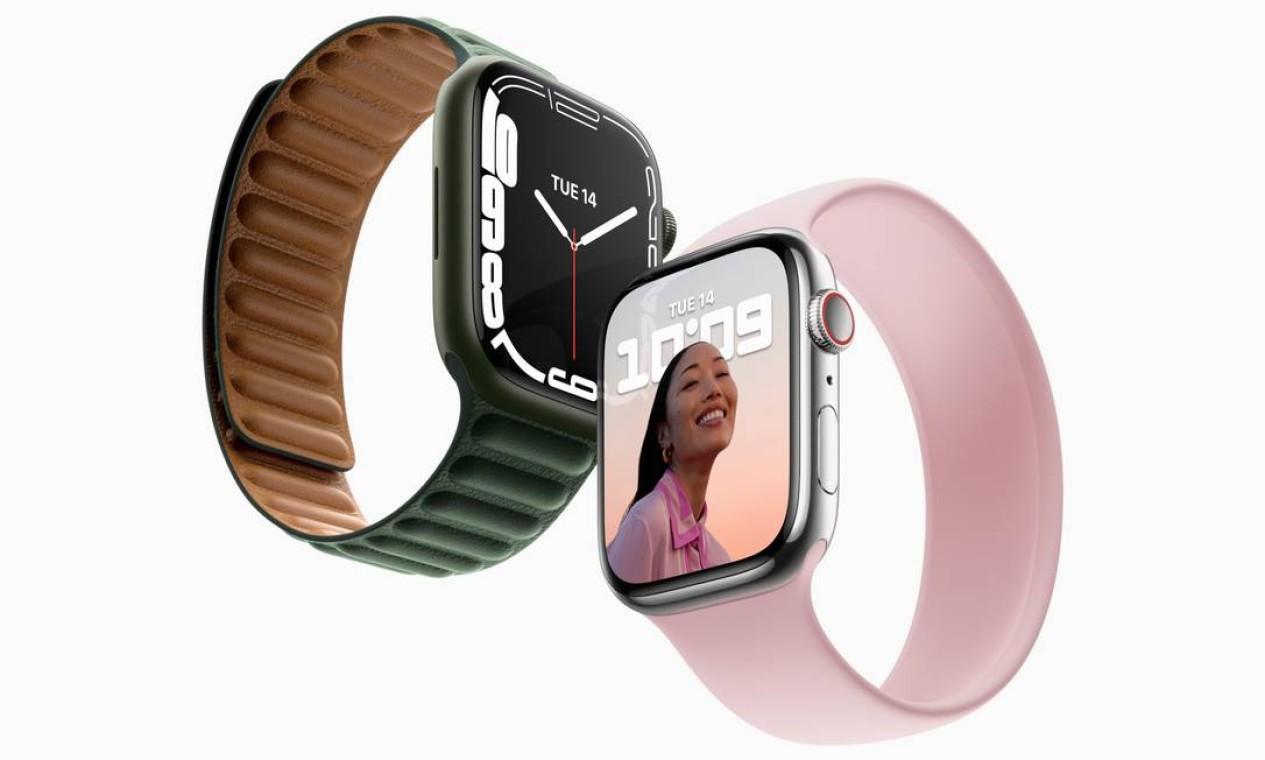 Apple lança nova versão 7 de seu relógio com pulseiras de várias cores Foto: Divulgação