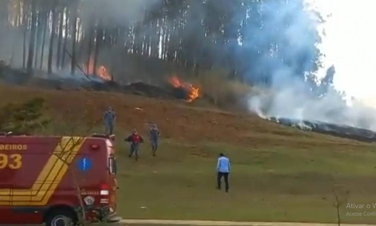 Local onde a aeronave caiu em Sorocaba Foto: Reprodução
