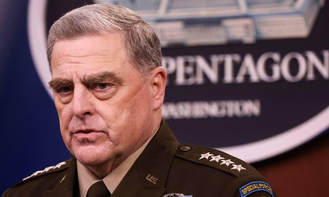 General Mark Milley discute fim da missão militar no Afeganistão durante coletiva de imprensa no Pentágono em Washington Foto: EVELYN HOCKSTEIN / REUTERS/01-09-2021