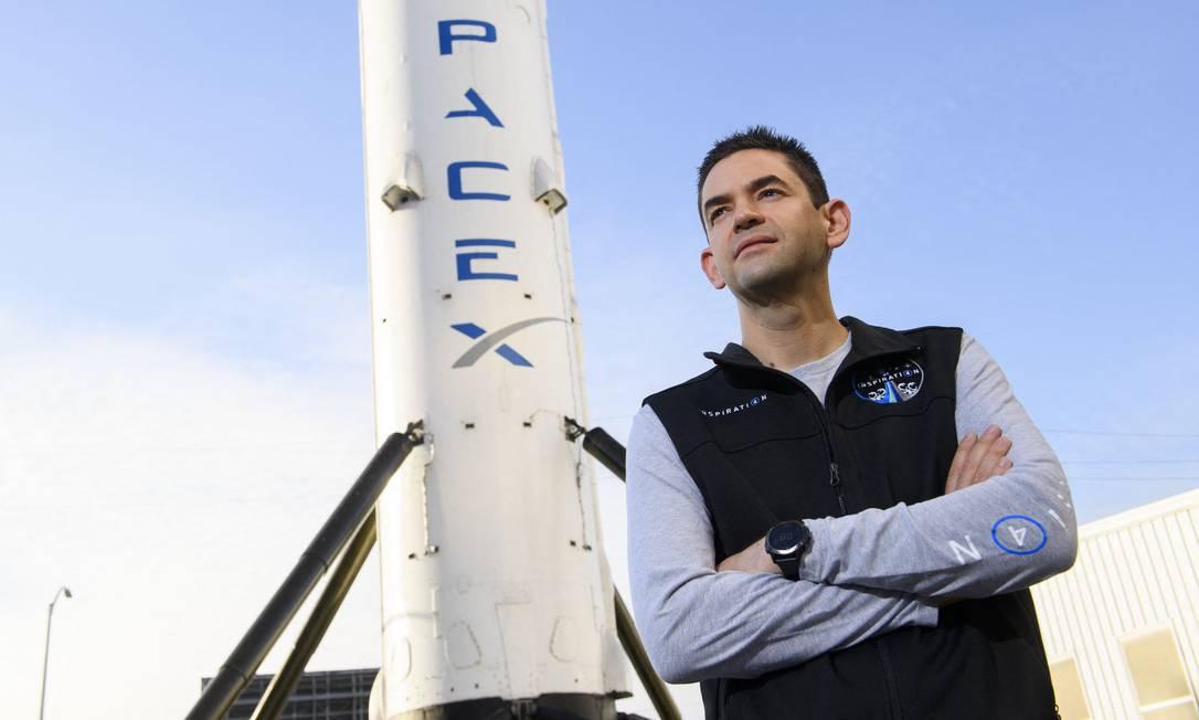 O comandante da missão civil da SpaceX ao espaço, Jared Isaacman Foto: PATRICK T. FALLON / AFP/19-8-2021
