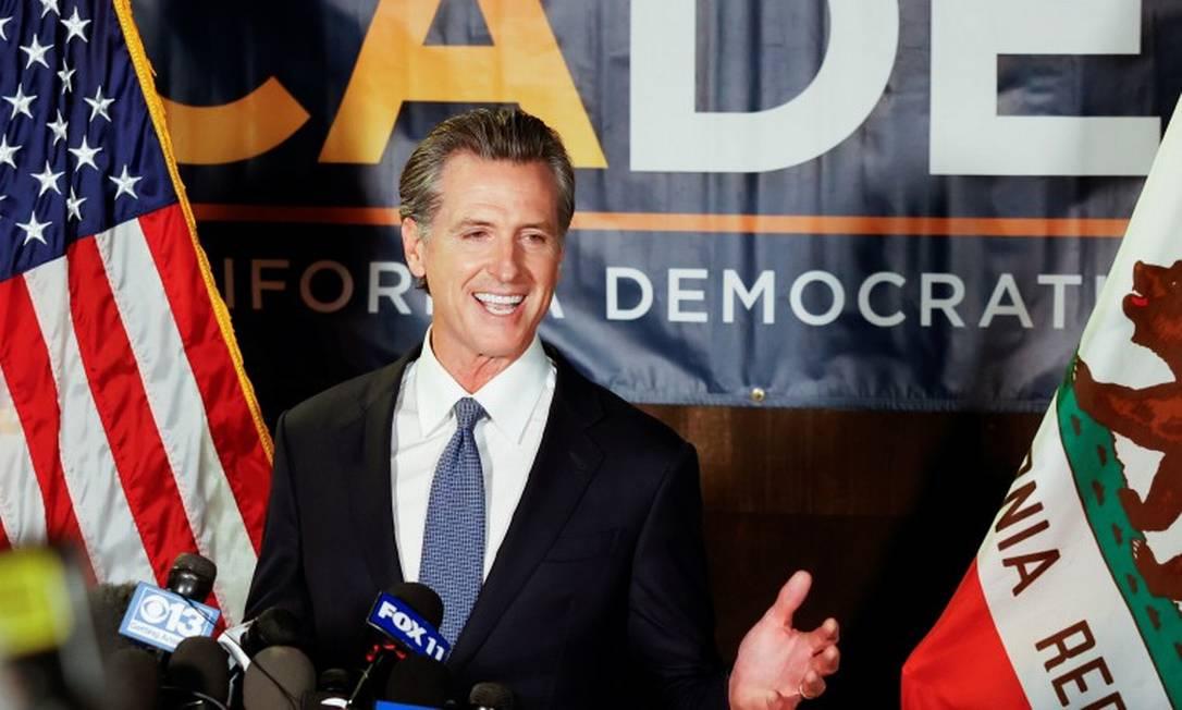Governador da Califórnia, Gavin Newson, após o encerramento da votação para revogar seu mandato Foto: FRED GREAVES / REUTERS/14-9-21