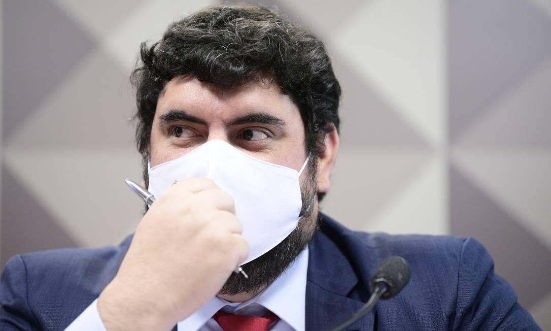 Marconny Albernaz Faria durante depoimento à CPI da Covid Foto: Agência Senado