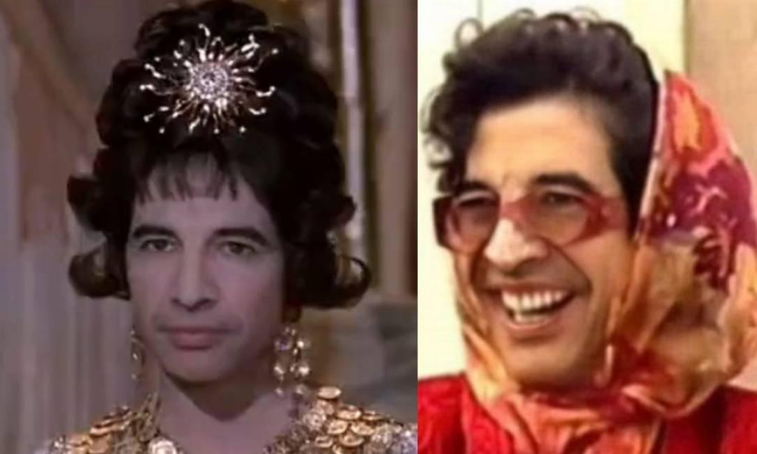 Paulo Betti em versão 'ElizaBETTI Taylor' e 'BETTI Faria' Foto: Reproduções