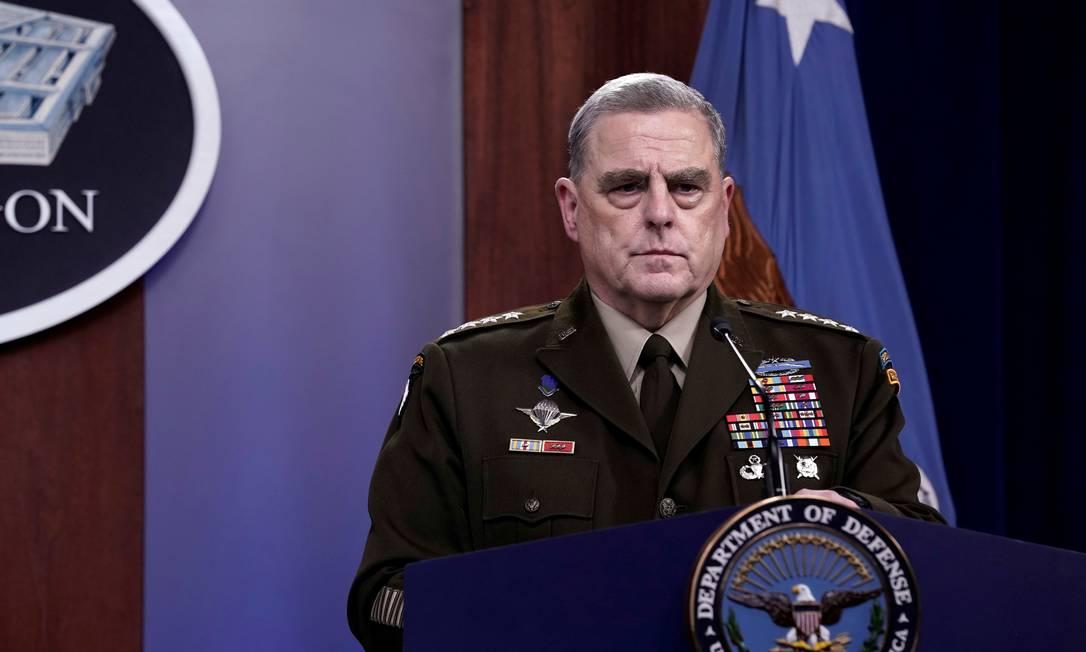 Chefe do Estado-Maior dos EUA, o general Mark Milley durante uma entrevista coletiva no Pentágono Foto: YURI GRIPAS / REUTERS