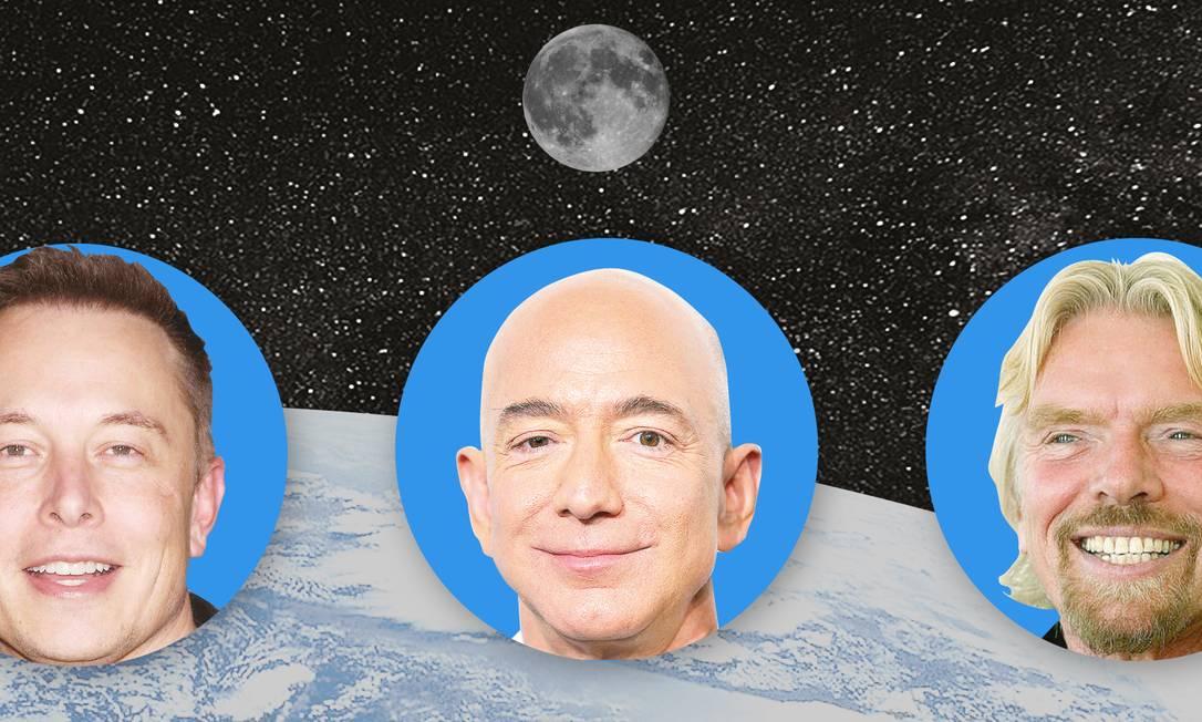 Os bilionários Elon Musk, Jeff Bezos e Richard Branson disputam uma corrida espacial Foto: Arte