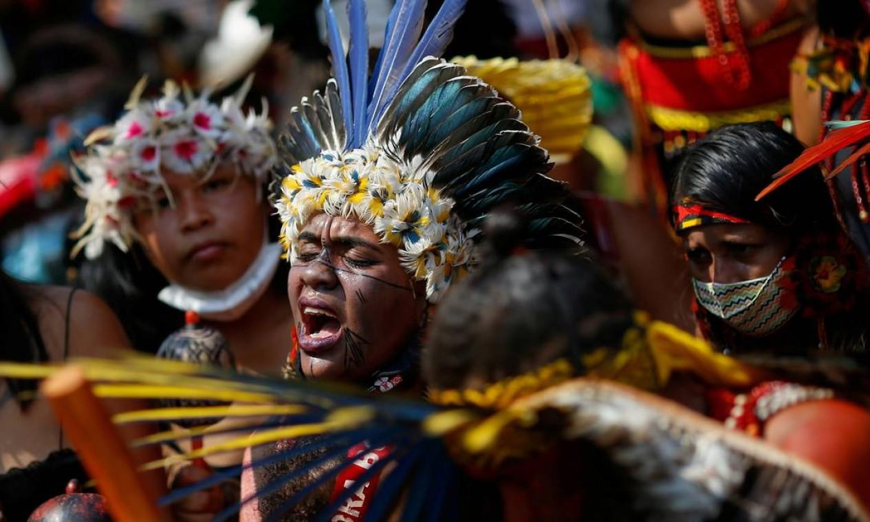 Segunda marcha de mulheres indígenas em protesto contra o presidente do Brasil Jair Bolsonaro Foto: Adriano Machado / Reuters - 10/09/2021