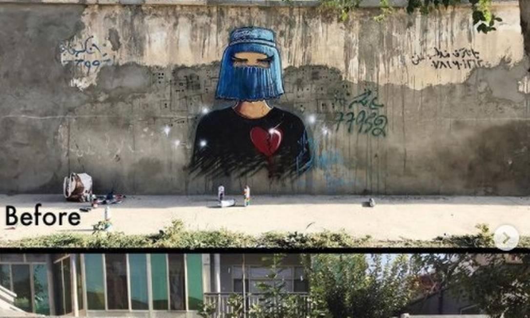 Muro onde ficava o grafite de Shamsia Hassani Foto: Instagram