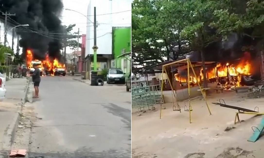 Vans incendiadas em Santa Cruz Foto: Reprodução/Instagram(padremiguelnews)