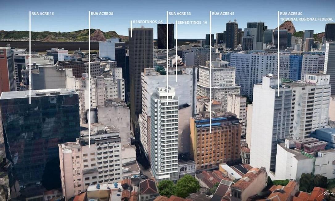Futuro edifício da Rua do Acre 33 (terceiro da esquerda para a direita) projetado no Centro Foto: Divulgação