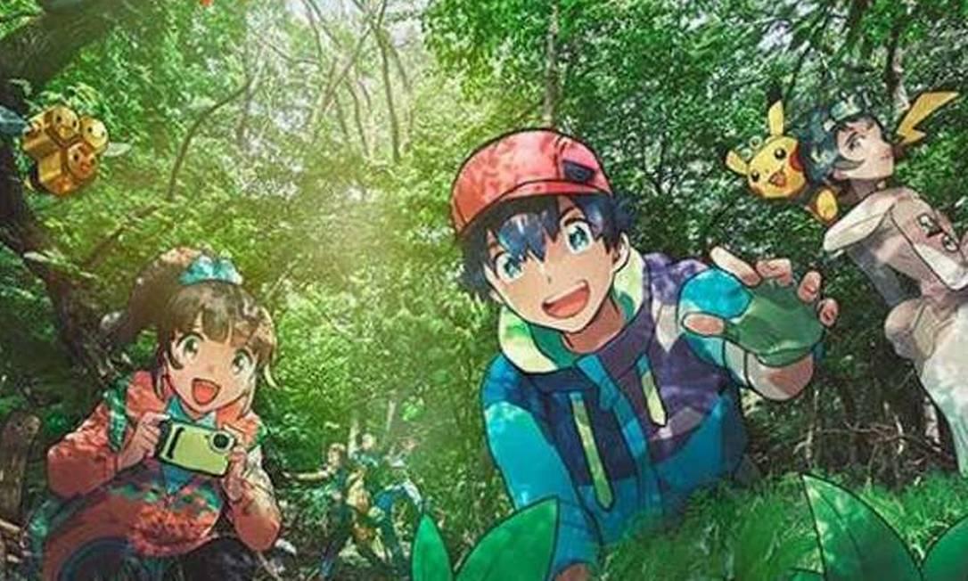 Arte promocional da atração Pokémon Wonder, um bosque temático onde visitantes podem caçar os monstrinhos 'de verdade' Foto: Reprodução
