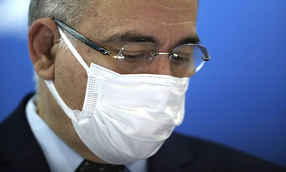 O ministro da Saúde, Marcelo Queiroga, concede entrevista sobre distribuição de doses da vacina Covid-19 Foto: Cristiano Mariz / Agência O Globo