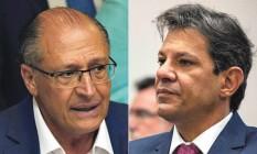 O ex-governador Geraldo Alckmin (PSDB) e o ex-prefeito Fernando Haddad (PT) Foto: Agência O Globo
