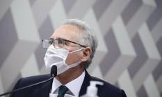Em pronunciamento, relator da CPI da Covid, senador Renan Calheiros (MDB-AL) Foto: Pedro França / Pedro França/Agência Senado