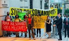 Manifestantes protestam contra presença do presidente Jair Bolsonaro na ONU Foto: Pedro Moreira