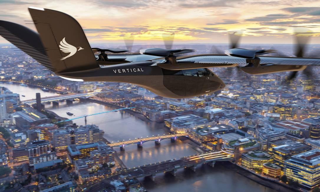 Gol anucia malha de carros voadores elétricos no país em 2025. São aeronaves do tipo VA-X4 eVTOL, criada pela britânica Vertical Aerospace. Embraer e Azul já anunciaram investimentos no segmento Foto: Divulgação/Vertical Aerospace
