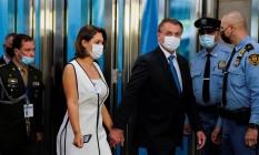 Presidente Jair Bolsonaro e primeira-dama Michelle Bolsonaro chegam às Nações Unidas para abertura da Assembleia Geral Foto: POOL / REUTERS