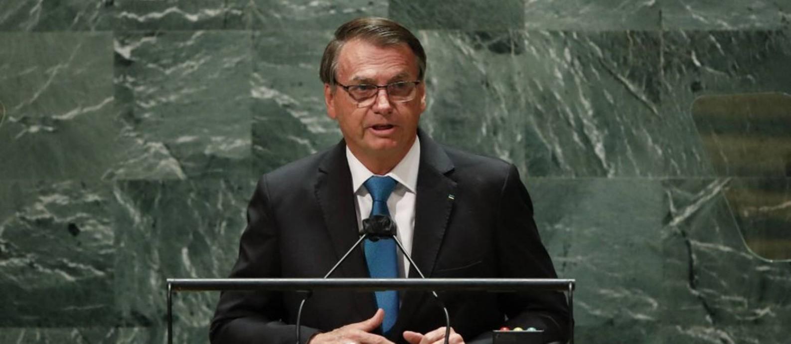 Presidente Jair Bolsonaro durante discurso na Assembleia Geral da ONU, em Nova York Foto: AFP