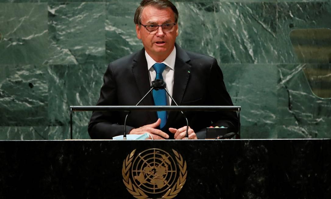 Bolsonaro citou dados errados de desmatamento, que cresce em seu governo, e fez alegações infundadas sobre o enfrentamento da pandemia na abertura da Assembleia Geral da ONU Foto: Eduardo Muñoz / REUTERS