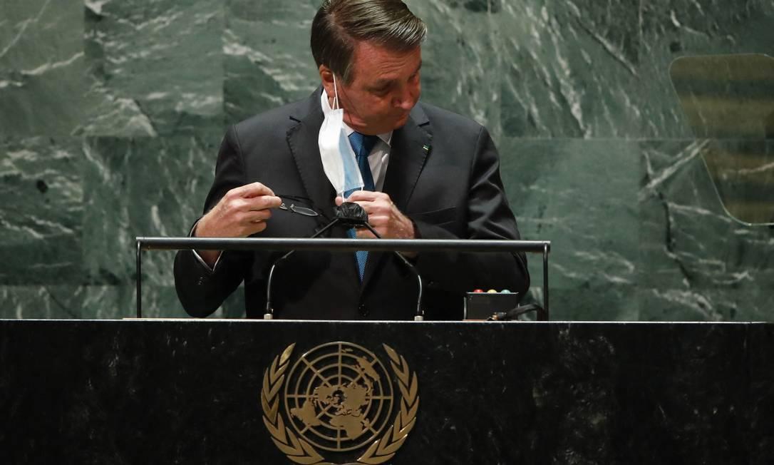 O presidente Jair Bolsonaro fez um discurso radical e repleto de inverdades na abertura da Assembleia Geral da ONU Foto: AFP