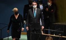 Jair Bolsonaro chega à Assembleia Geral da ONU, em Nova York Foto: TIMOTHY A. CLARY / AFP